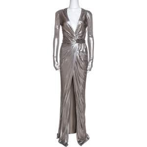 Versace Silver Metallic Jersey Draped Wrap Dress M