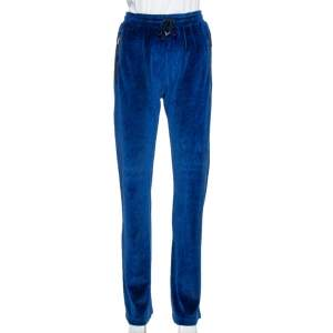Versace Blue Velvet Medusa Embroidered Sweatpants XS
