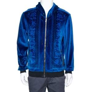 Versace Blue Jacquard Velvet Leather Trim Zip Front Hoodie S