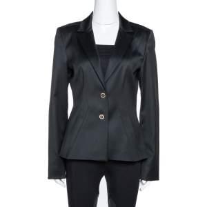 Versace Black Wool Medusa Chain Detail Tailored Blazer M