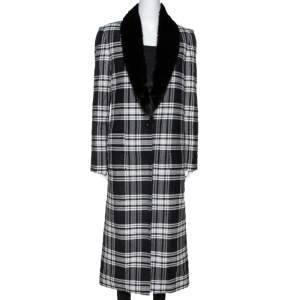 Versace Black Plaid Wool & Silk Mink Fur Trim Long Coat S
