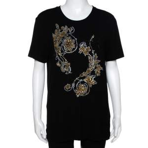 Versace Black & Gold Logo Embellished Jersey T Shirt M