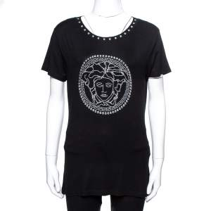 Versace Black Jersey Medusa Icon Studded T-Shirt XL