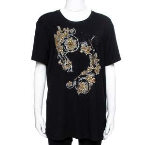 Versace Black & Gold Medusa Embellished Jersey T-Shirt XL