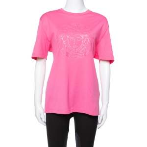 Versace Pink Cotton Medusa Appliqued Crew Neck T-Shirt L