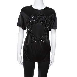 Versace Black Jersey Medusa Embellished Crew Neck T-Shirt L