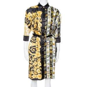 Versace Black Hibiscus Print Silk Belted Shirt Dress M