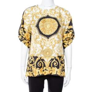 Versace Gold Hibiscus & Zeus Print Silk Short Sleeve Blouse M