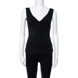 Versace Black Fabric Blend Cutout Stretch Knit Peplum Top S