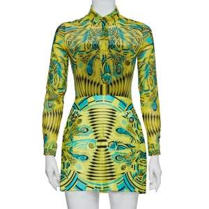 Versace Yellow Printed Silk Shirt & Cotton Mini Skirt Set S