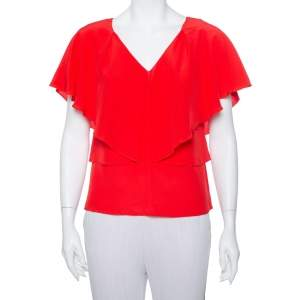 Versace Red Silk V-Neck Ruffled Top S