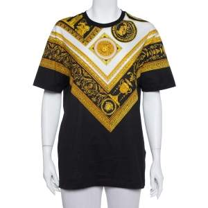 Versace Black Baroque Printed Cotton Crewneck T -Shirt S