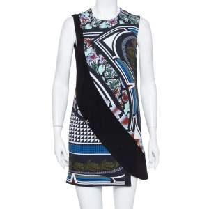 Versace Black Printed Crepe Sleeveless Shift Dress S