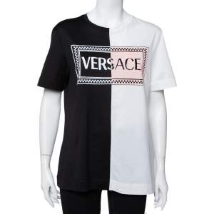 Versace Monochrome Cotton Logo Embroidered & Printed Crewneck T-Shirt M