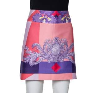Versace Pink Printed Cotton Mini Skirt M