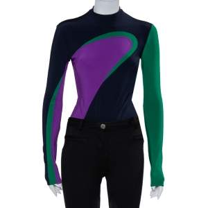 Versace Color Block Knit Long Sleeve High Neck Bodysuit S
