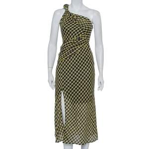 Versace Black & Yellow Wool Open Weave One Shoulder Midi Dress S