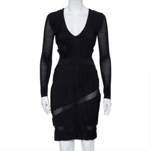 Versace Black Perforated Knit Plunge Neck Sheath Dress S