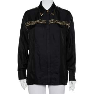 Versace Tribute Black & Gold Embellished Silk Button Front Shirt M