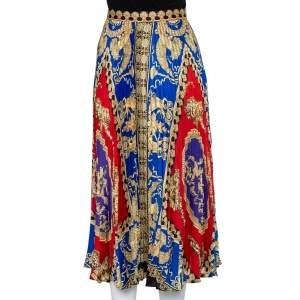 Versace Multicolored Printed Satin Pleated Midi Skirt L