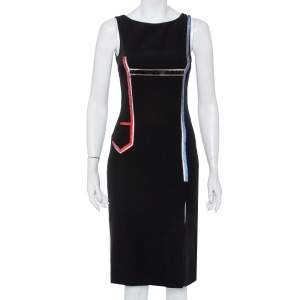 Versace Black Crepe Stone Embellished Sheath Dress S