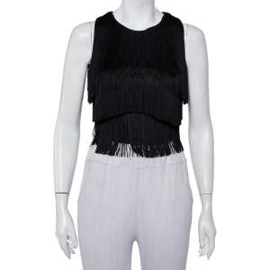 Versace Black Silk Fringed Sleeveless Crop Top S