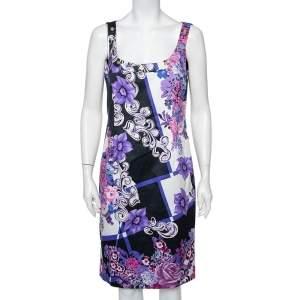 Versace Multicolor Printed Cotton Scoop Neck Sleeveless Shift Dress L