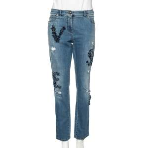 Versace Stone Washed Blue Cotton Logo Embroidered Jeans L