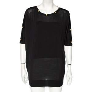 Versace Black Wool Medusa Button Detail Oversized Top M