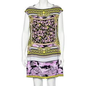 Versace Collection Multicolored Abstract Print Crepe Mini Dress L