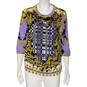 Versace Multicolored Baroque Print Silk Embellished Blouse M