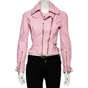 Versace Pink Leather Cross Tie Detailed Biker Jacket S