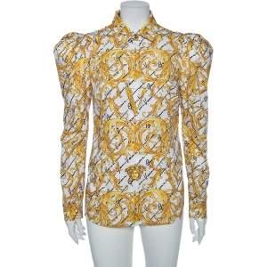 Versace White Baroque Printed Cotton Victorian Sleeve Detail Shirt M