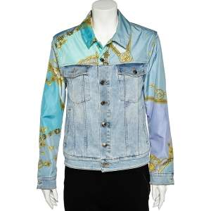 Versace Collection Blue Denim & Printed Synthetic Paneled Jacket M