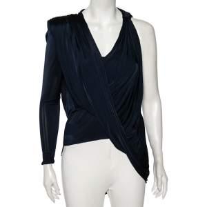 Versace Navy Blue Jersey Asymmetrical Draped Top S
