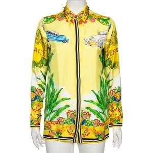 Versace Yellow Palm Tree Baroque Logo Printed Silk Shirt S