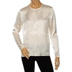 Versace Cream Floral Textured Silk Long Sleeve Blouse S