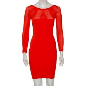 Versace Orange Textured Knit & Mesh Detailed Sheath Dress S