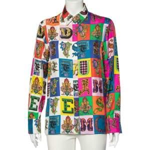 Versace Multicolor Baroque Alphabet Printed Silk Shirt M
