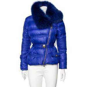 Versace Collection Blue Down Quilted & Fur Trimmed Belted Jacket M