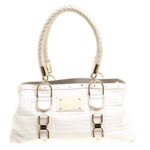 Versace White Quilted Leather Snap Out Of It Tote
