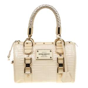 Versace Off White Quilted patent Leather Small Snap Out Of It Satchel