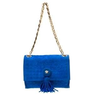 Versace Blue Suede Vanitas Crossbody Bag