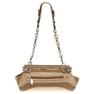 Versace Cream Crocodile Embossed Leather Studded Frame Shoulder Bag