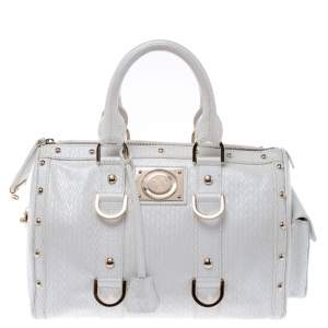 Versace White Leather Studded Satchel