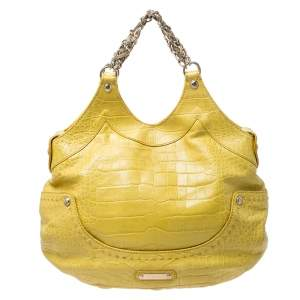 Versace Yellow Croc Embossed Leather Kiss Satchel