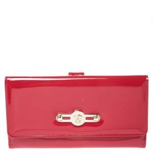 Versace Red Patent Leather Icon Continental Wallet