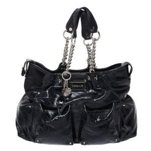 Versace Midnight Blue Croc Patent Leather Chain Tote
