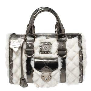 Versace Metallic Grey/White Leather and Fur Snap Out Of It Satchel
