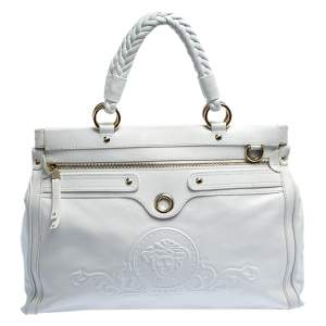 Versace White Leather Logo Embossed Tote